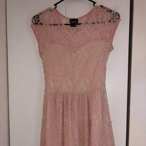 Laced pink mini homecoming dress